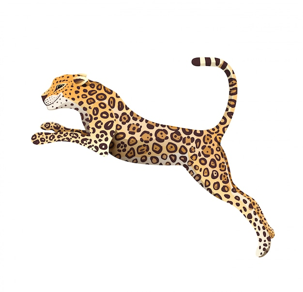 Realistic hand drawn jaguar jump isolated cartoon. exotic jungle and rainforest symbol big wild cat panther illustration. isolated animal clipart.