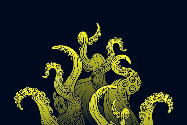 Realistic hand drawn octopus tentacles background
