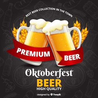 Realistic hand drawn oktoberfest background