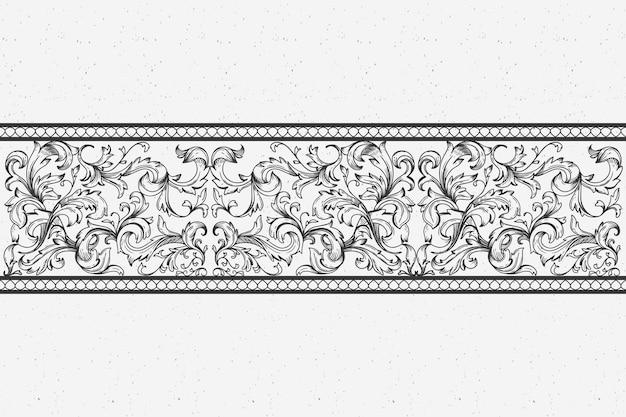 Bordo ornamentale disegnato a mano realistico in stile barocco