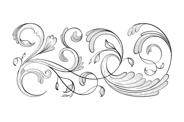 Realistic hand drawn ornamental border in baroque style