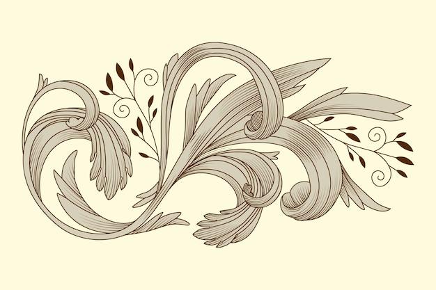 Realistic hand drawn ornamental border