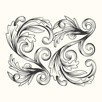 Realistic hand-drawn ornamental border