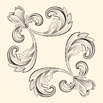 Realistic hand-drawn ornamental border
