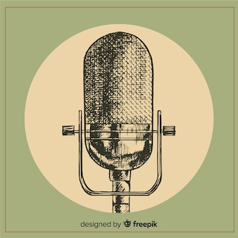 Realistic hand drawn retro microphone