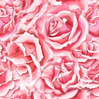 Realistic hand drawn rose flower blossom seamless pattern.