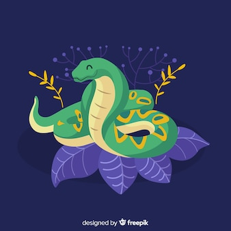 Realistic hand drawn snake on leaves background