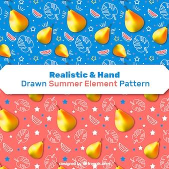 Modelli di elementi estivi realistici e disegnati a mano