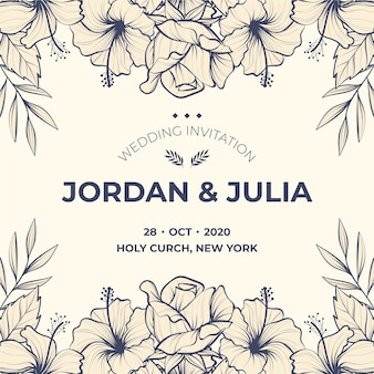 Realistic hand drawn template flowers wedding invitation