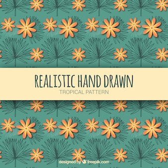 Realistic hand drawn tropical pattern