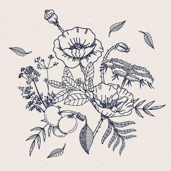 Realistic hand drawn vintage floral bouque