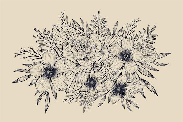Realistic hand drawn vintage floral bouquet