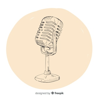 Realistic hand drawn vintage microphone