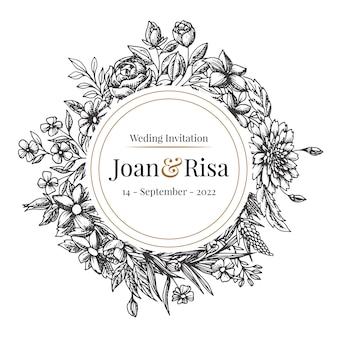 Realistic hand drawn wedding invitation