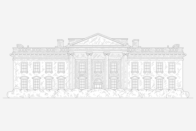 Realistic hand drawn white house illustration