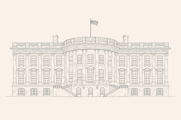 Realistic hand drawn white house illustration