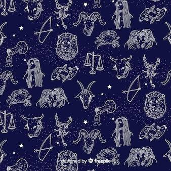 Realistic hand drawn zodiac pattern