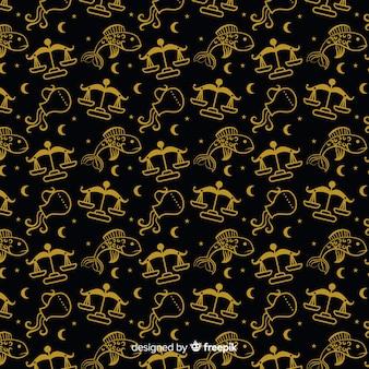 Realistic hand drawn zodiac pattern