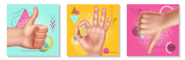 Realistic hand gestures collection with female hands showing okay thumb up and down signs