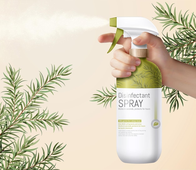 Realistic hand holding grass green trigger spray bottle decorated with ethereal tea tree leaves
