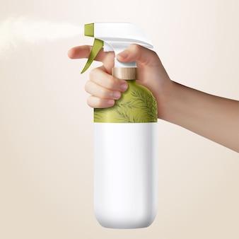 밝은 노란색 배경에 격리된 잔디 녹색 방아쇠 스프레이 병을 들고 있는 현실적인 손