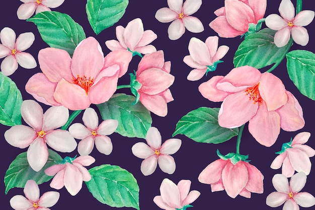 Realistic hand painted floral background