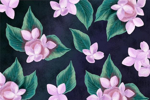 Realistic hand-painted floral background