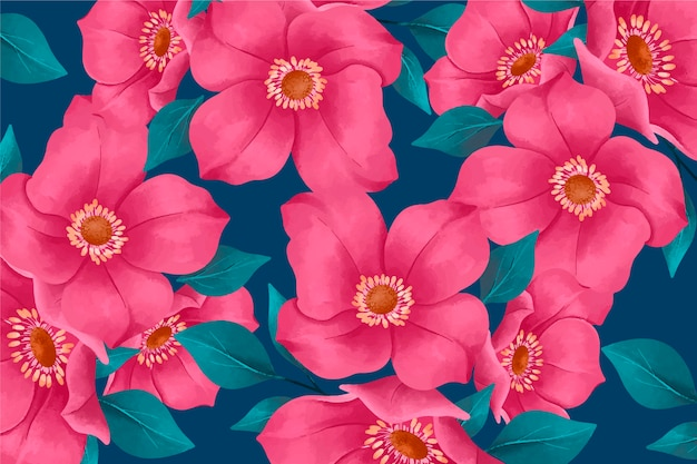 Realistic hand painted floral wallpaper