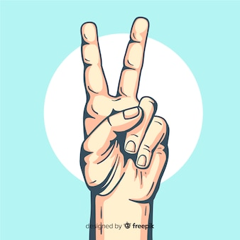 Realistic hand peace sign background