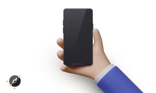 白い背景で隔離の電話と現実的な手。ベクトルイラスト