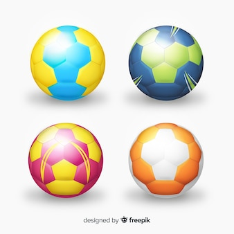 Realistic handball ball set