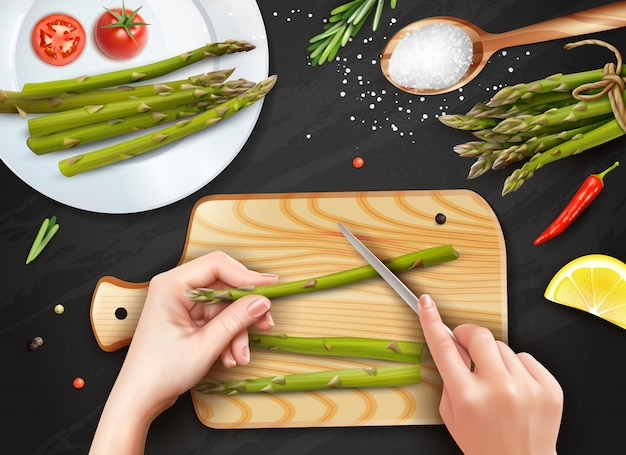 Realistic hands cutting asparagus
