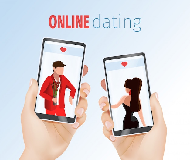 Realistic hands holding mobile phones dating app