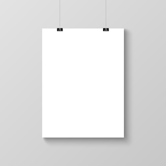 Realistic hanging blank poster template mockup