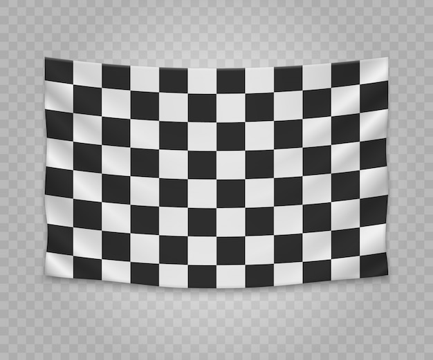 Realistic hanging checkered finish flag. empty fabric banner illustration design.