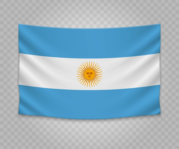Realistic hanging flag of argentina