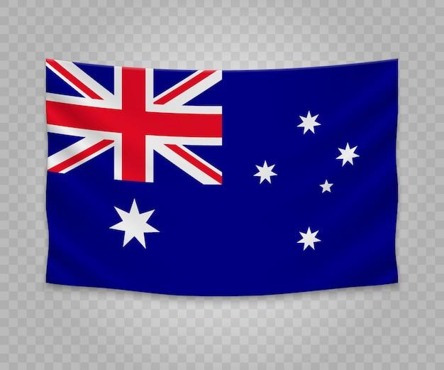 Realistic hanging flag of australia