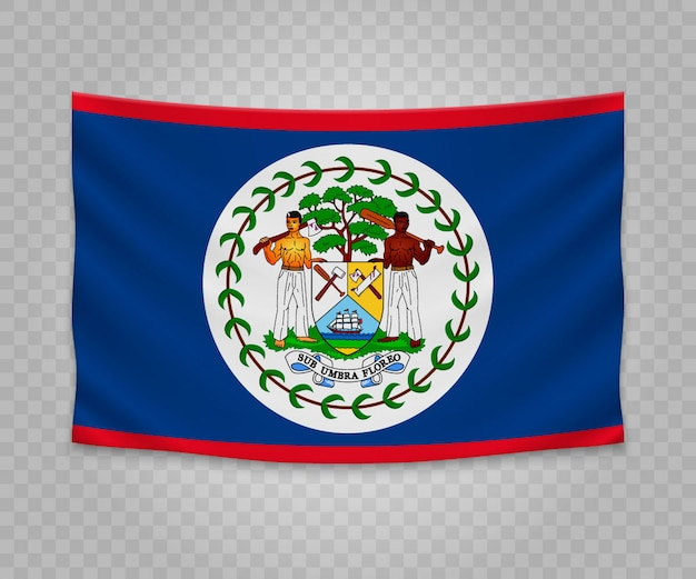 Realistic hanging flag of belize