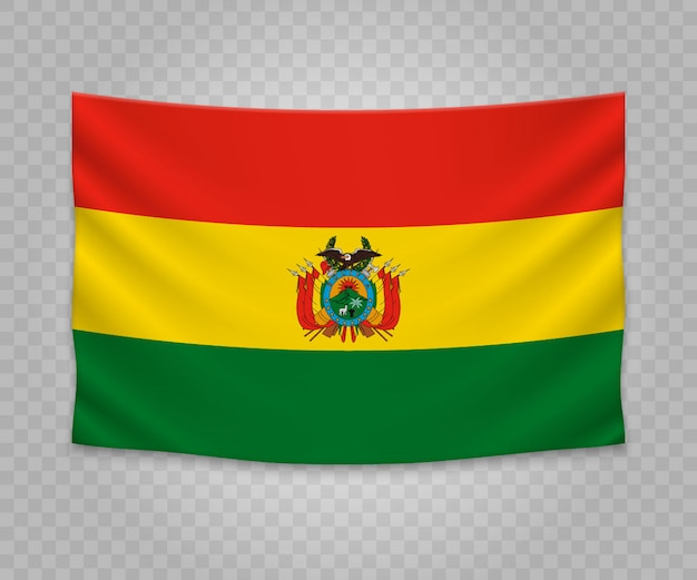 Realistic hanging flag of bolivia