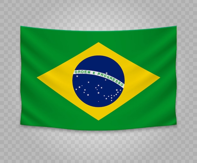 Realistic hanging flag of brazil