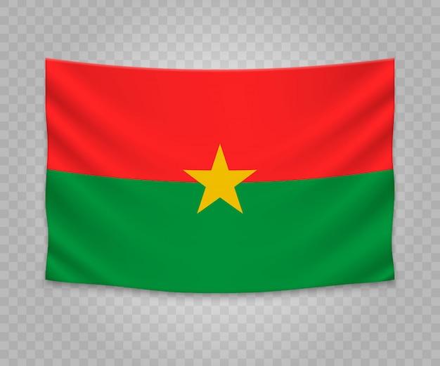 Realistic hanging flag of burkina faso