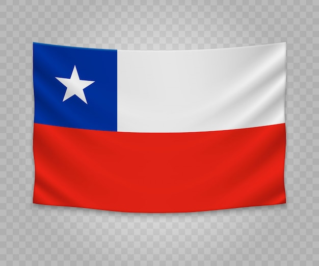 Realistic hanging flag of chile
