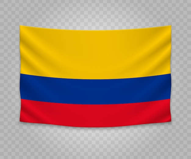 Realistic hanging flag of colombia