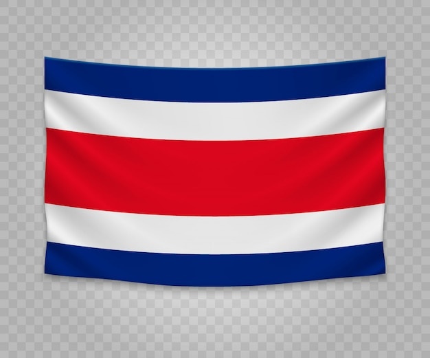 Realistic hanging flag of costa rica