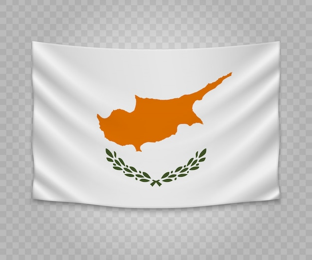 Realistic hanging flag of cyprus