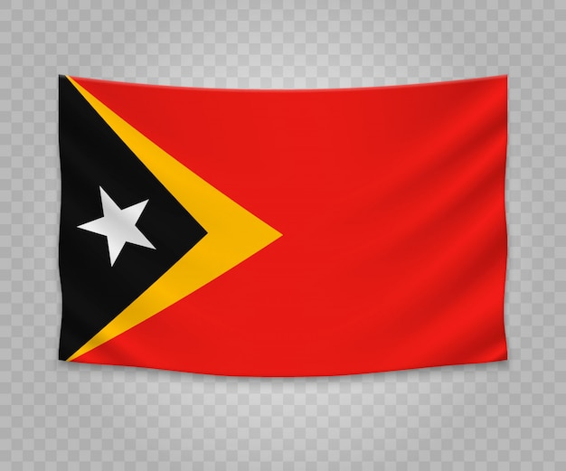 Realistic hanging flag of east timor