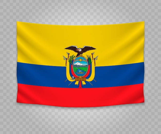 Realistic hanging flag of ecuador