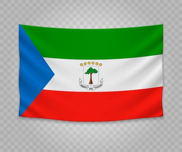 Realistic hanging flag of equatorial guinea