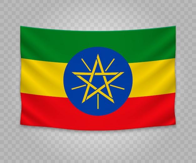 Realistic hanging flag of ethiopia