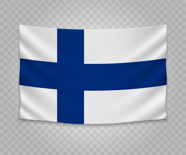 Realistic hanging flag of finland